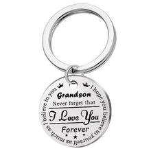 Load image into Gallery viewer, Grandson Granddaughter Son Daughter I Love You Forever Crown Keychains Stainless Steel Keychain Crown Pendant Necklace Gifts for Kids