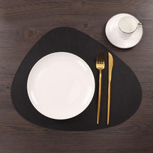 Load image into Gallery viewer, 4Pcs Black Leather Placemat Kitchen Tableware Mat Waterproof Heat-Resistant Table Mat Dinner Pad