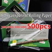 Load image into Gallery viewer, 50/100/200/300/400/500pcs Transparent Rolling Paper Convenient Creative Cigarette Rolling Paper Herb Smoking Rolling Papers Cigarette Papers(Size:110mm/78mm)