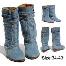 Load image into Gallery viewer, Womens Cowboy Western Boots Autumn Winter Women Square Low Heel Flat Shoes Knee Length Jeans Boots Female Mid Calf Boots bottes d'hiver pour femmes Pointed Toe Military Combat Boots