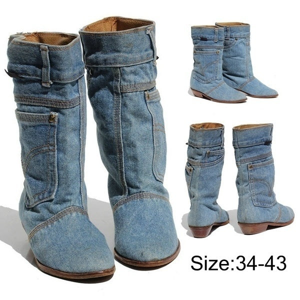 Womens Cowboy Western Boots Autumn Winter Women Square Low Heel Flat Shoes Knee Length Jeans Boots Female Mid Calf Boots bottes d'hiver pour femmes Pointed Toe Military Combat Boots