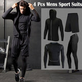 New 4 Pcs/set Compression Mens Sport Suits Quick Dry Running Sets Clothes Sports Joggers Training Gym Fitness Tracksuits Running Set