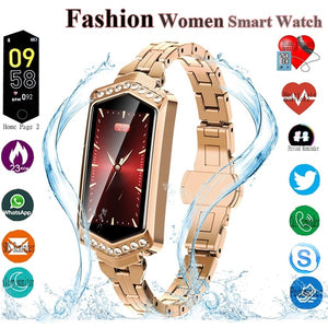 Smart Watch Women Waterproof Heart Rate Monitoring Stainless Steel Smart Watch Fitness Bracelet Smartwatch for IOS/Android