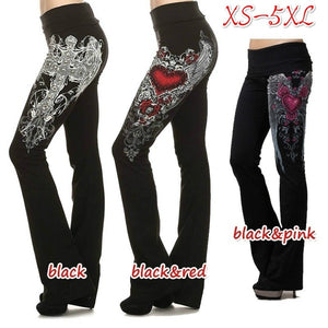 S-5XL Women's Fashion High Waist Pants Angel Wing Print Skinny Trousers Casual Lounge Pants Women's Wide Leg Pants