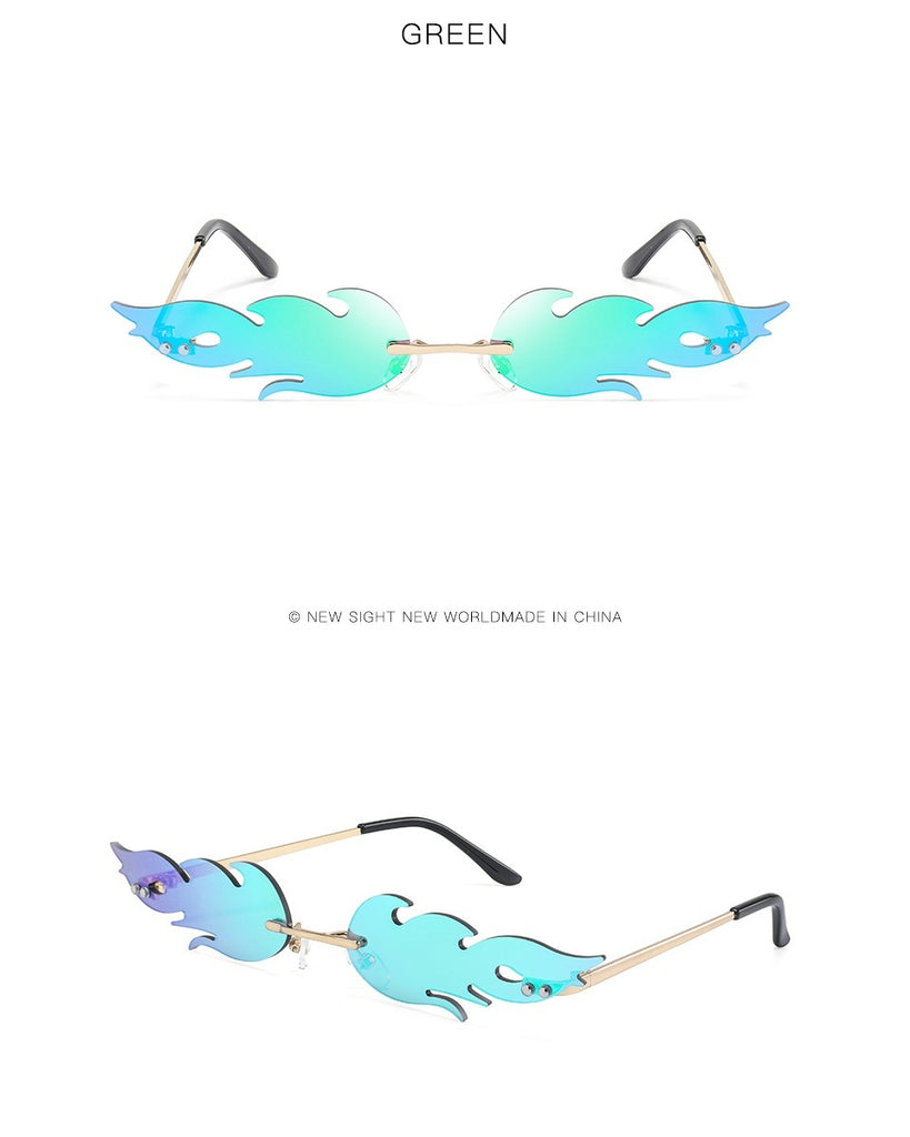 New Fashion Fire Flame Sunglasses Women Men Rimless Wave Sun Glasses Eyewear Luxury Trending Narrow Sunglasses Streetwear