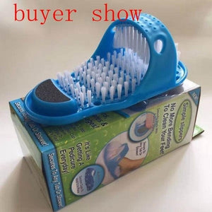 Plastic Bath Shoe Pumice Stone Foot Scrubber Shower Brush Massager Slipper