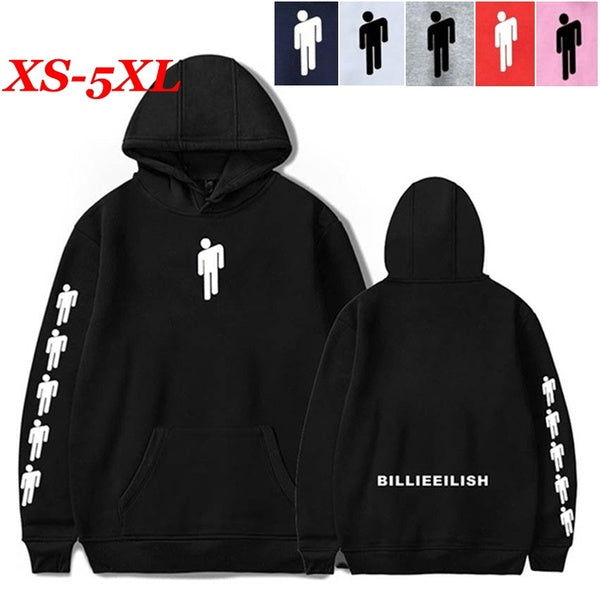 Unisex Long Sleeve Billie Eilish Dance Printed Hoodies Fleece Overshirt Pullover Pocket Hoodie Sweater Sweatshirt Jacket XS-5XL