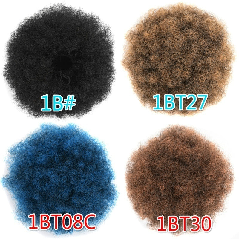 High Afro Puff Ponytail Drawstring Chignon Hairpiece Short Synthetic Kinky Curly Fake Hair Bun Updo Clip In Hair Extensions