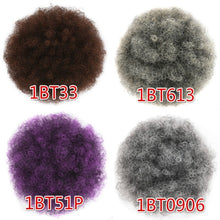 Load image into Gallery viewer, High Afro Puff Ponytail Drawstring Chignon Hairpiece Short Synthetic Kinky Curly Fake Hair Bun Updo Clip In Hair Extensions