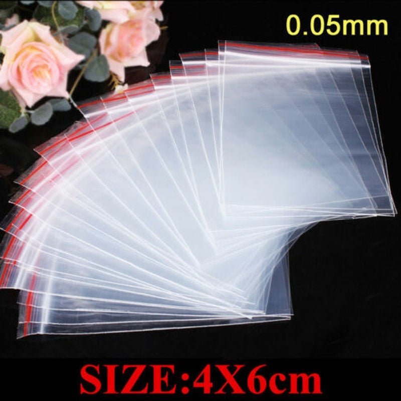 200Pcs 4X6CM Small Ziplock Clear Poly Bag Reclosable Plastic Jewelry Baggies