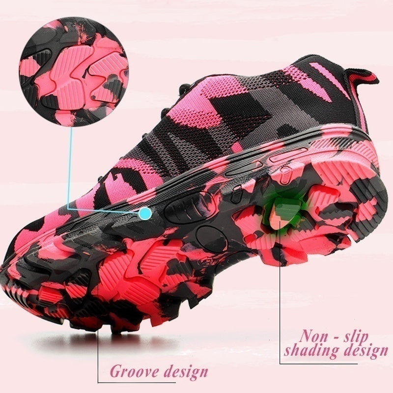 Fashion Working Safety Boots Camouflage Pink Construction Outdoor Steel Toe Cap Breathable Boots Running Hiking Sports Sneakers Size 36-41