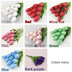 2pcs Tulip Artificial Flower Real Touch Artificial Bouquet Fake Flower for Wedding Decoration Flowers Home Garden Decor