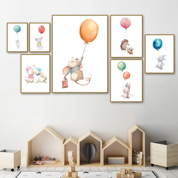 Rabbit Mouse Balloon Nordic Posters And Prints Wall Art Canvas Painting Watercolor Cartoon Wall Pictures For Kids Room Decor