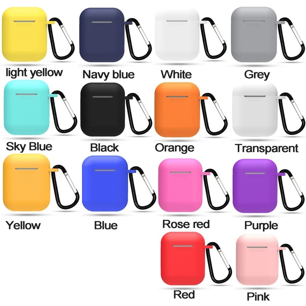 Dust-plug Silicone Case for AirPods Charging Case w/ Carabiner