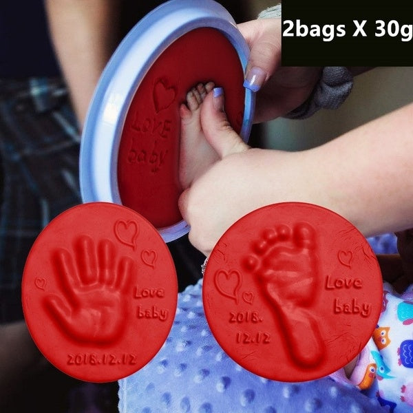 2 Bags x 30g Baby Hand Foot Inkpad Drying Soft Clay Baby Handprint Footprint Imprint Casting Parent-child Hand Inkpad Fingerprint