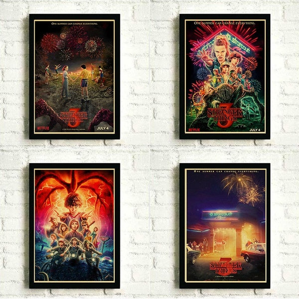 2019 New Stranger Things Season 3 Retro Posters TV Movie Kraft Paper Prints Art Wall Painting For Living Room Wall Bedroom Decor 42x30cm