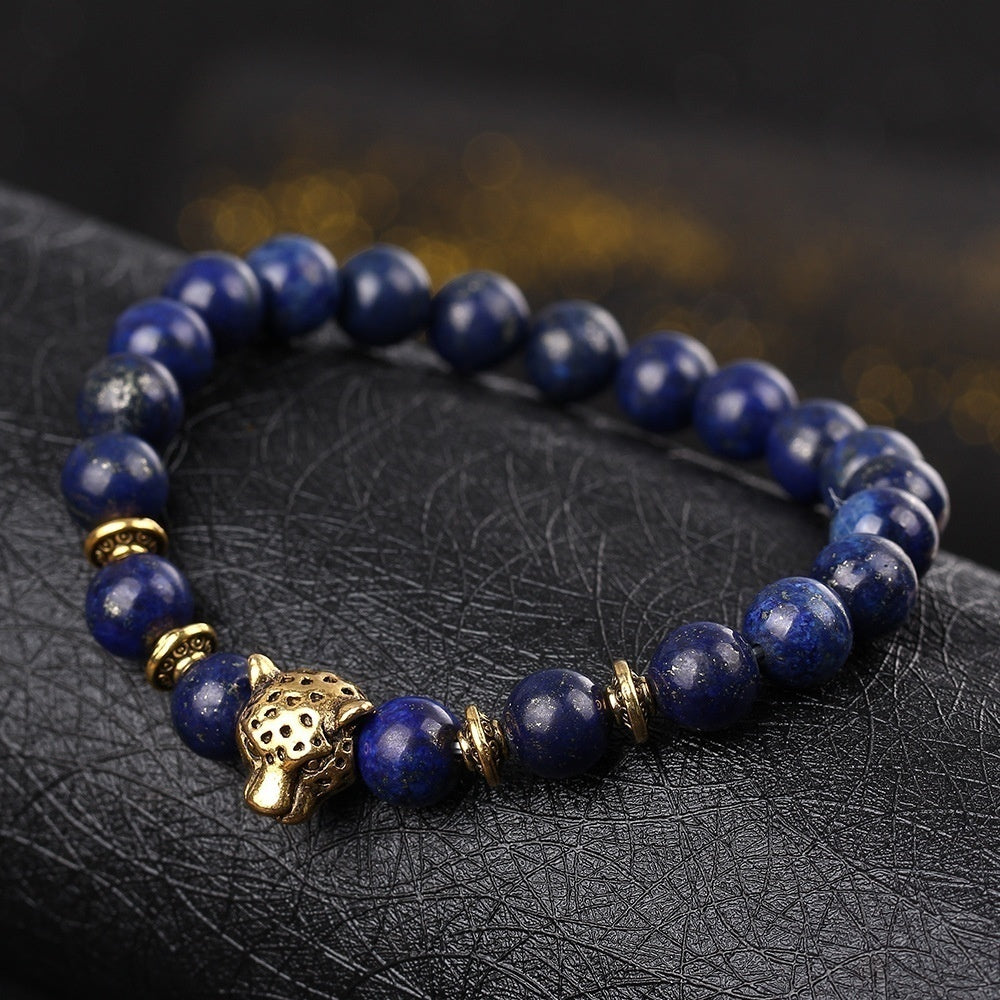 Gold Leopard Head Gold Tiger Eye Bead Buddha Natural Agate Stone Bracelet for Men Fashion Male Punk Jewelry Bracelets & Bangles