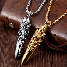Load image into Gallery viewer, Titanium Steel Funeral Cremation Bullet Pendant Keepsake Urn Necklace For Ashes Memorial Jewelry Mementos