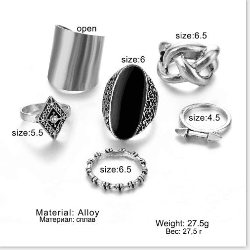 6 Pcs / set Black Gemstone Carved Flower Ring Metal Celtic Knot Joint Arrow Rings Set Jewelry Gift