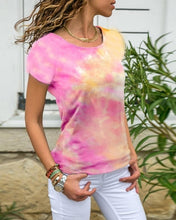 Load image into Gallery viewer, Women's Fashion Tie-Dye Slim Fit Shirts Short Sleeve T-shirts Tops
