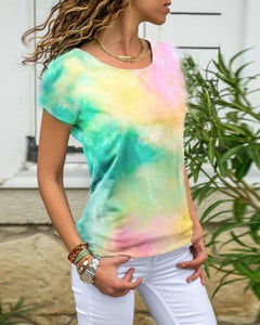 Women's Fashion Tie-Dye Slim Fit Shirts Short Sleeve T-shirts Tops