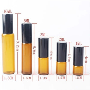 15Pcs/Lot Amber Roll On Roller Bottle for Essential Oils Refillable Perfume Bottle Deodorant Containers.