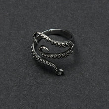 Load image into Gallery viewer, new steel ring opening eight punk Octopus catch ring