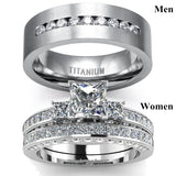 New Couple Ring - He And Her Three Stone Princess Cut 1CT Diamond S925 Sterling Silver Womens Wedding Ring Titanium Steel Mens Ring