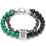 Unique Natural Map Stone Men's Beaded Bracelet Stainless Steel Bracelets Male Jewelry Fashion Gifts for Men