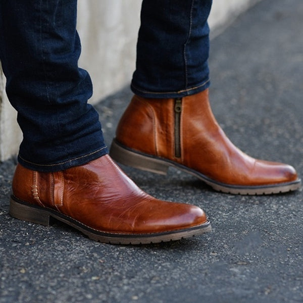 High Quality Leather Shoes Autumn Winter Men Boots Fashion Round Toe Western Ankle Boots Casual Ankle Buckle Cowboy Ankle Booties Zipper Winter Short Leather Boots Plus Size:39-48