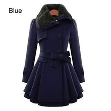 Load image into Gallery viewer, Womens New Style Vintage Woolen Coat Slim Trench Coats Lady Fur Collar Peacoat Winter Woolen Coat Jackets Outwear Plus Size 5XL