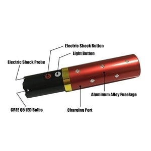 USB Chargeable Electric Shock Optional Outdoor Portable Lipstick LED Flashlight Electric Tazer Flashlight Mini Security Flashlight Stun Flashlight