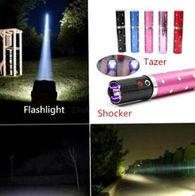 Load image into Gallery viewer, USB Chargeable Electric Shock Optional Outdoor Portable Lipstick LED Flashlight Electric Tazer Flashlight Mini Security Flashlight Stun Flashlight
