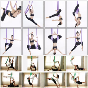 1pc Anti-Gravity Elastic Yoga Aerial Inversion Swing Hammock Sling Strap
