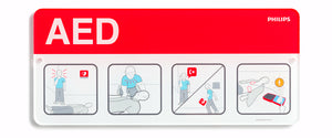 AED Awareness Placard ' Red - English