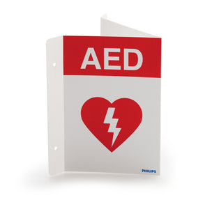 AED Wall Sign - Red (can be mounted 3 ways) - English