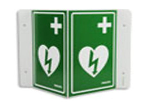 AED Wall Sign - Green (can be mounted 3 ways) - International (no text)