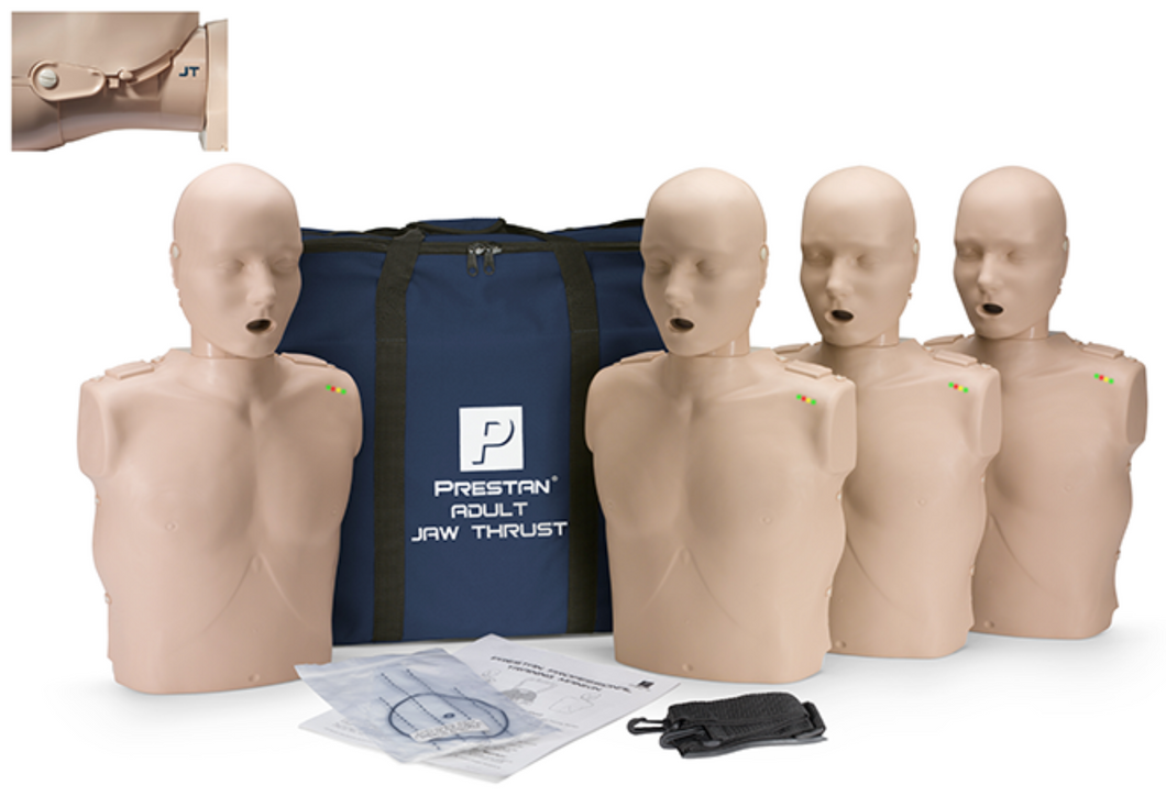 CPR Manikin Prestan Professional Adult Jaw Thrust (4-Pack) with CPR Monitor