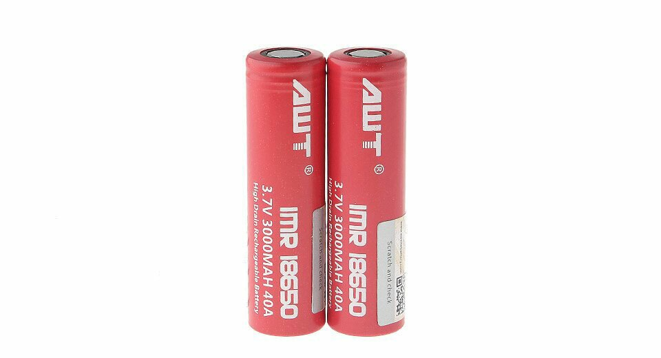 Authentic AWT IMR18650 3.7V 3000mAh Rechargeable Li-Mn Batteries(2pc)