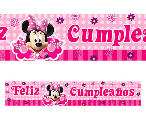 Cartel metalizado minnie mouse 165 x 29cm