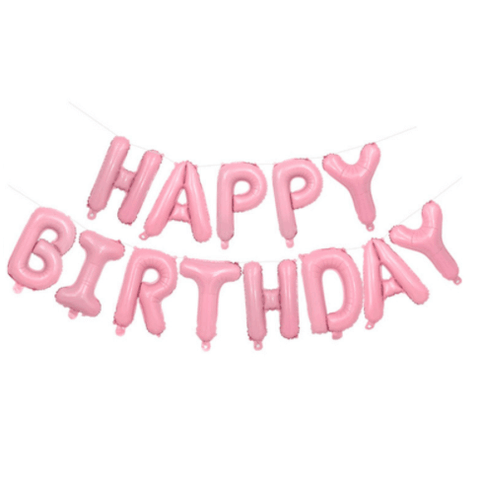 Set HAPPY BIRTHDAY letras de 40 cm rosado metalizado