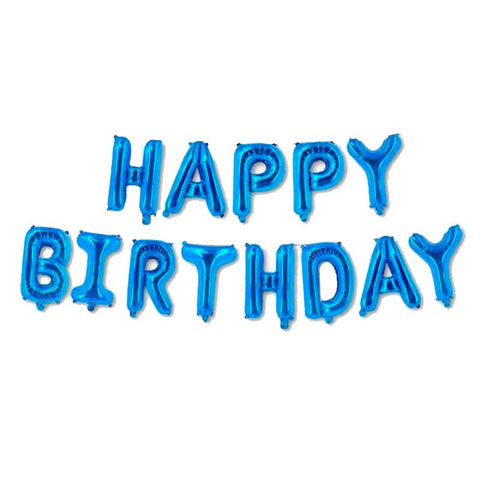 Set HAPPY BIRTHDAY letras de 40 cm azul metalizado