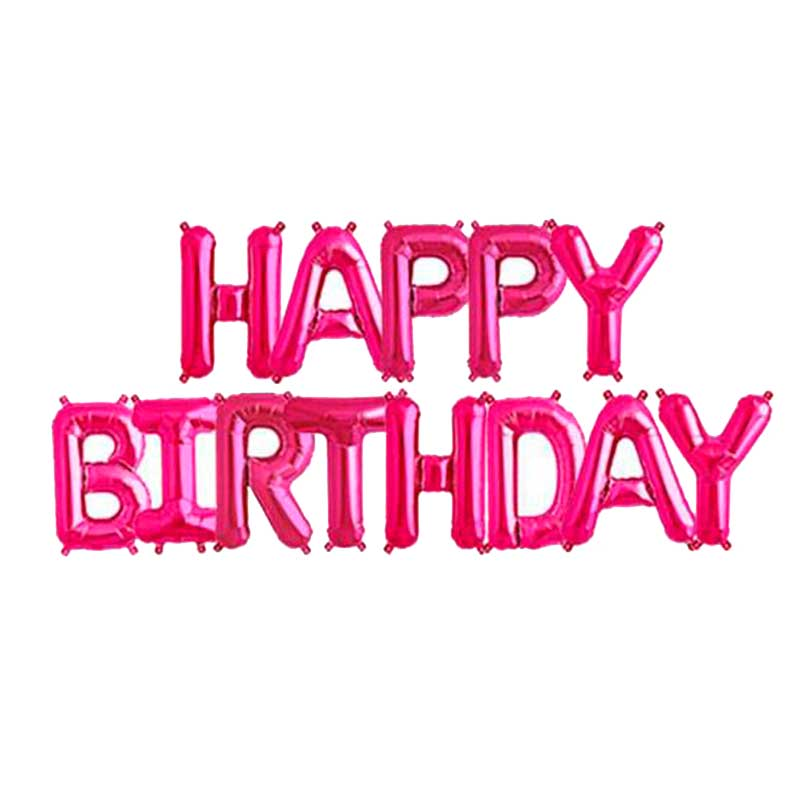 Set HAPPY BIRTHDAY letras de 40 cm fucsia metalizado