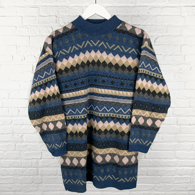 Women's Patterned High Neck Knit Jumper
