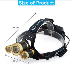 10000 Lumen LED Headlamp with 2 X 18650mah Batteries