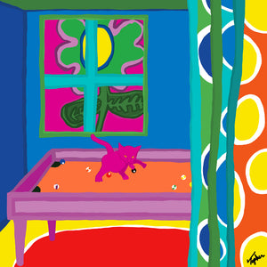 Cat on Pool Table (Inspired by Matisse)