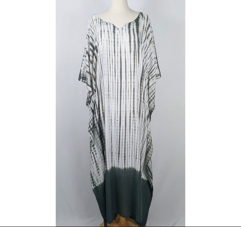 Solid Bottom Grey Tie Dye Caftan