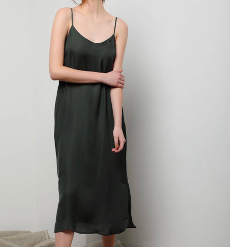 Easy Slip Dress - Olive Green