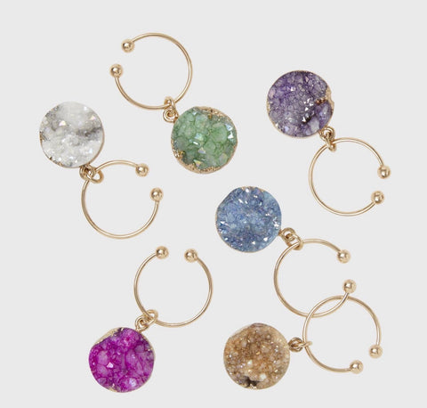 Druzy Wine Charms - Set of Six
