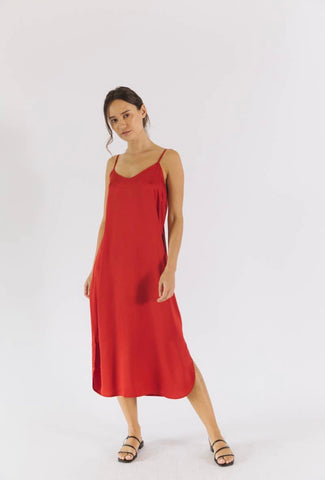 Easy Slip Dress - Crimson Red